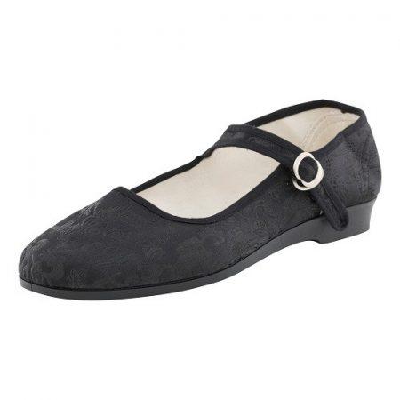 Bársonycipő brokát fekete