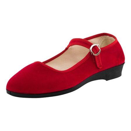 Bársonycipő piros 36
