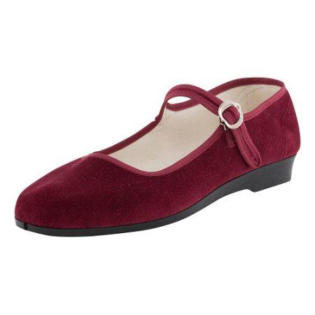 Bársonycipő bordó 35
