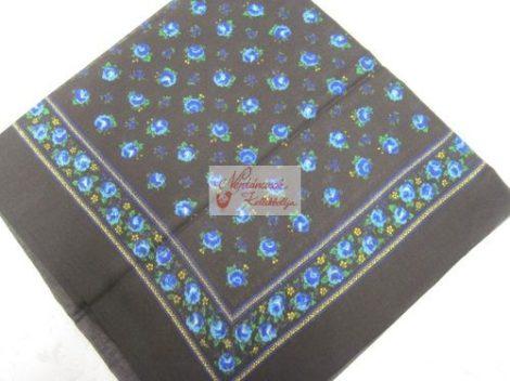fejkendő virágos fekete-kék