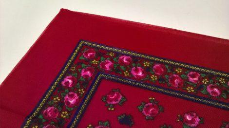 fejkendő virágos piros-rózsaszín