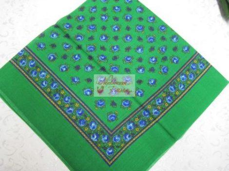 fejkendő virágos zöld-kék
