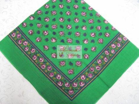 fejkendő virágos zöld-lila