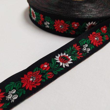 Szalag - hímzett 25 mm  fekete-piros-fehér