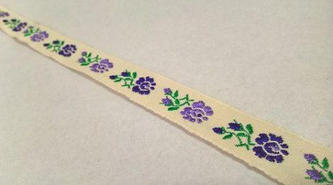 Szalag - hímzett 16mm drapp-lila