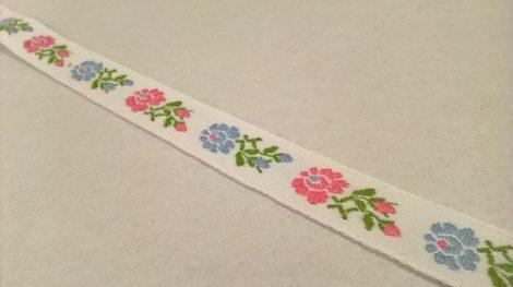 Szalag - hímzett 16mm fehér-rózsaszín-világoskék