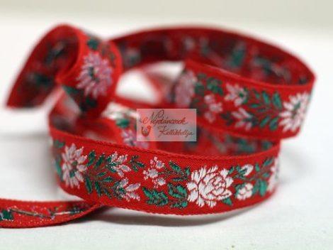 Szalag - hímzett 23 mm piros