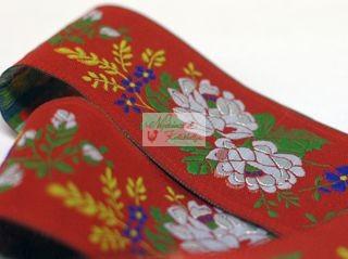 Szalag - hímzett 50 mm piros