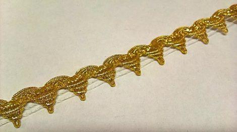 Szalag - díszítő 15 mm arany csúcsos