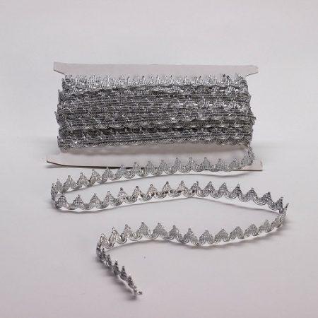 Szalag - díszítő 15 mm ezüst csúcsos
