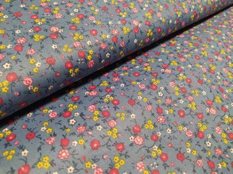Pamutvászon kék virágos 066