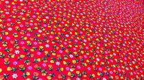 Pamutvászon piros virágos 174