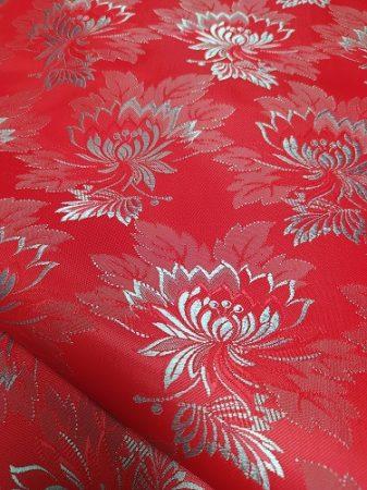Selyem-brokát 2514 piros-vkék 643