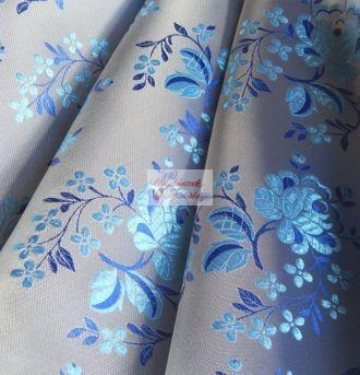 Selyem-brokát 5686 ezüst-kék-világoskék 15