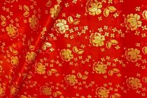 Selyem-brokát 5686 piros-arany