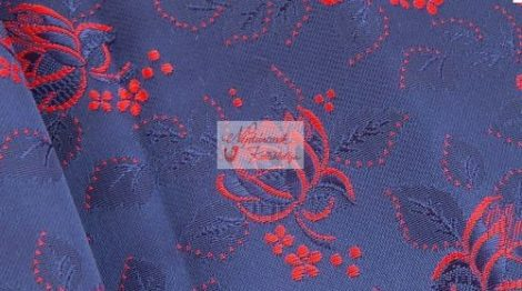 Selyem-brokát 6313 kék-piros 153
