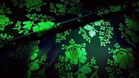 Selyem-brokát 5686 fekete-zöld 59