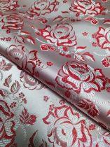 Selyem-brokát 6241 ezüst-piros r-43
