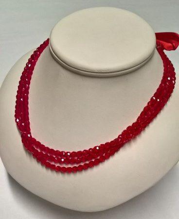 gyöngysor - metszett 5 mm piros