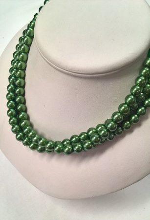 gyöngysor - tekla kötős 8mm zöld 31cm
