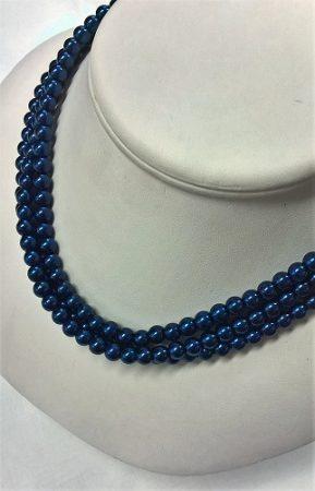 gyöngysor - tekla kötős 6mm kék 33cm