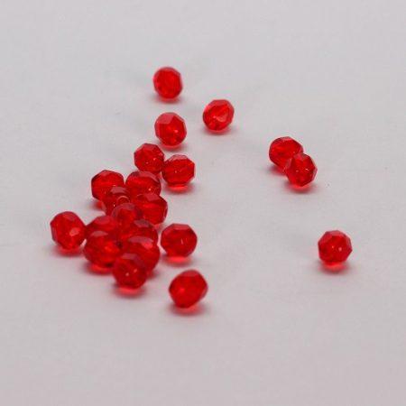 gyöngy - metszett üveg piros 5 mm